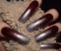Red Silver Ombre Fake Nails Extra Long Curved False Nails