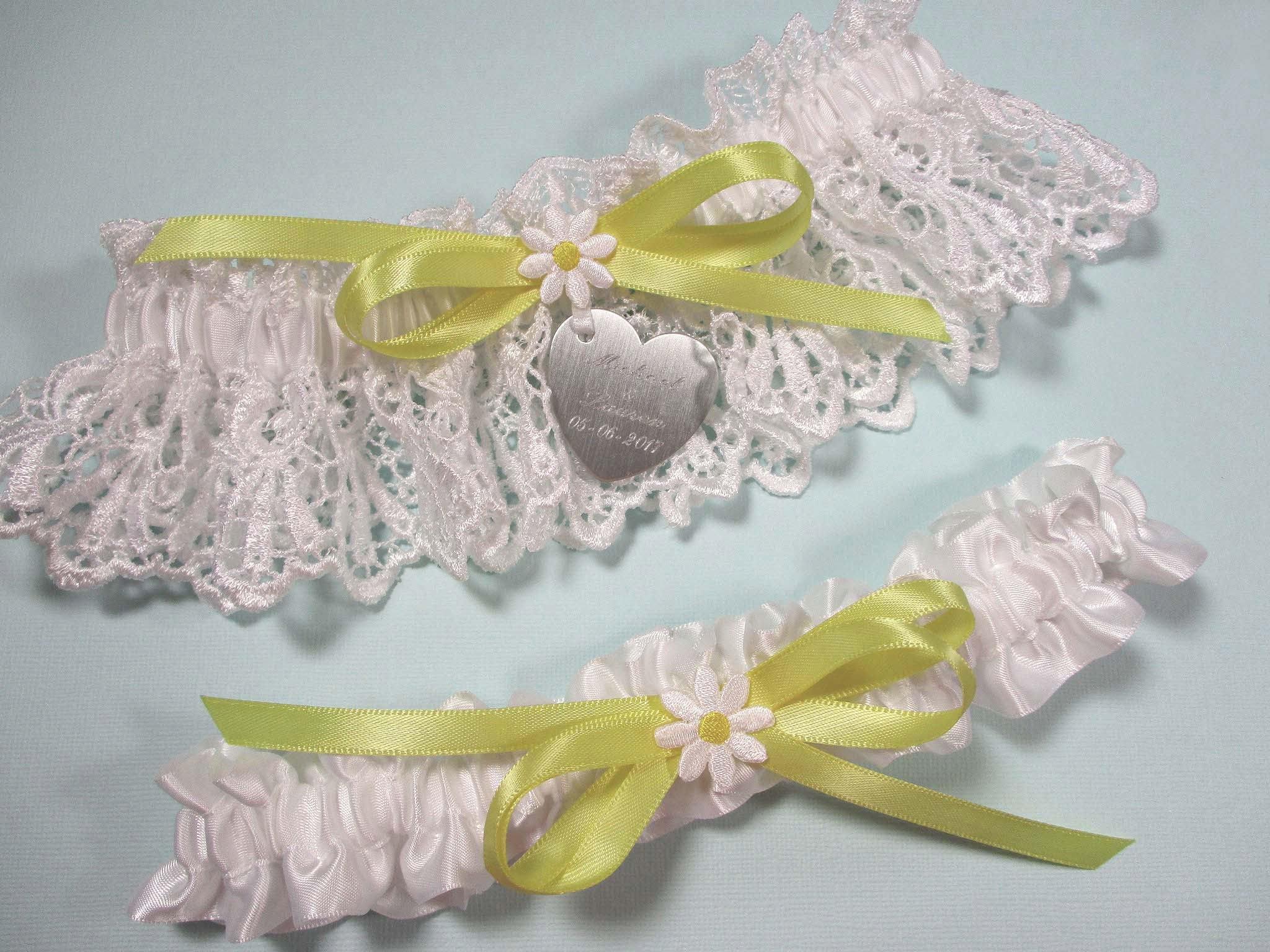 Daisy Wedding Garter Set Personalized Bridal Garters In White