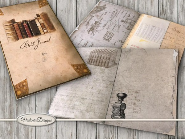 Book Journal Kit Printable Library Journal DIY junk journal