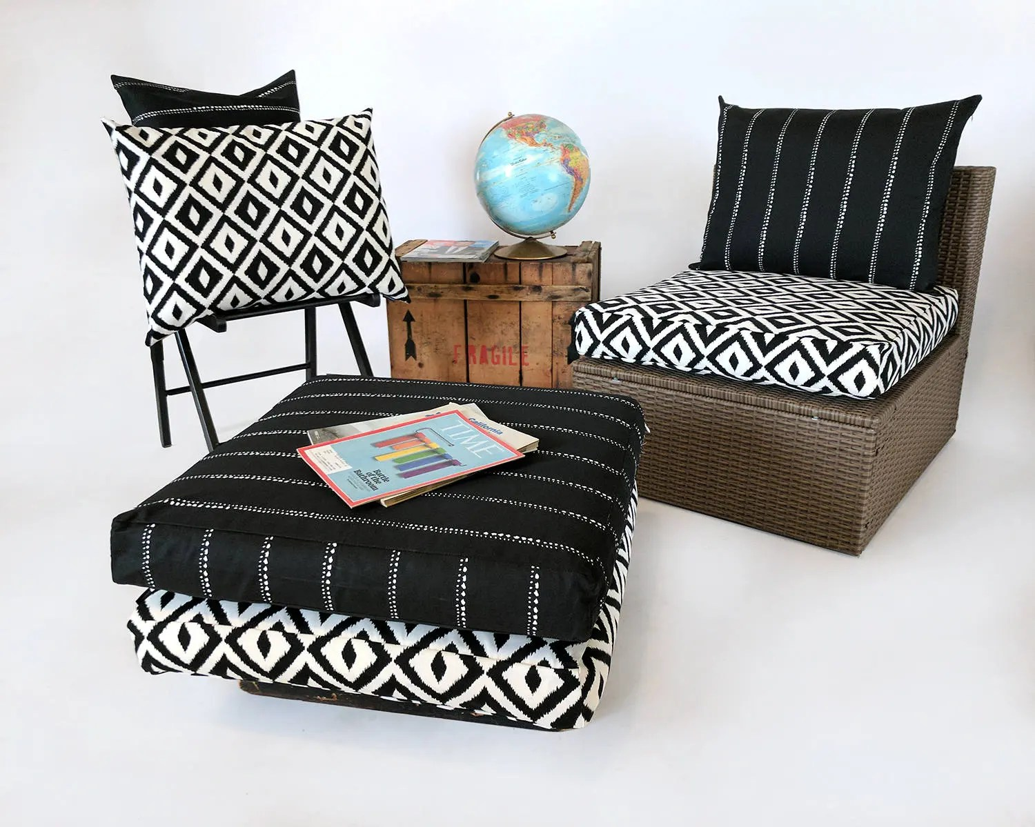 custom outdoor chair cushions covers white bonded leather dining chairs ikea slip cover cushion