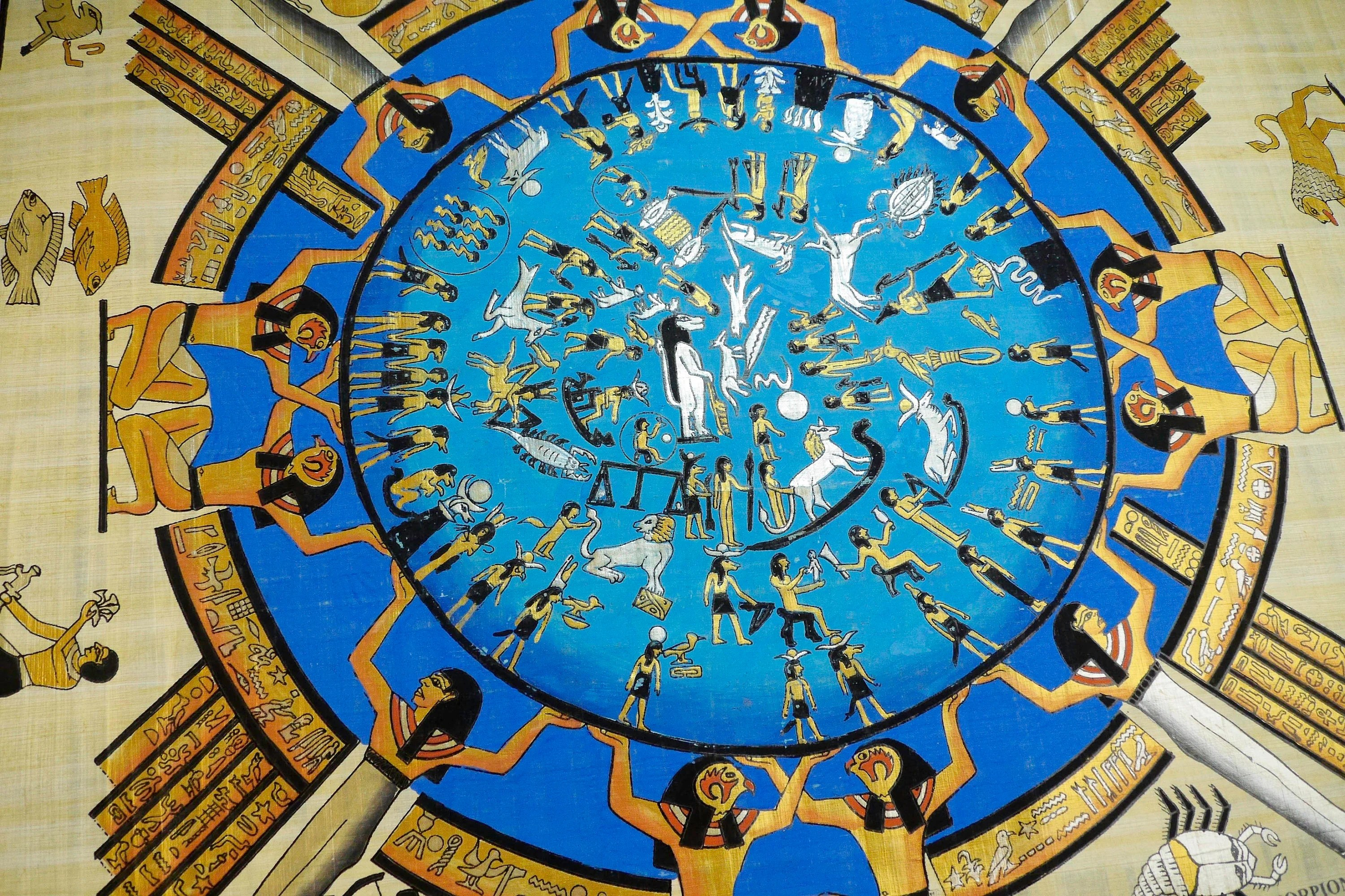 Ancient Egyptian Calendar With All The Zodiac Signs