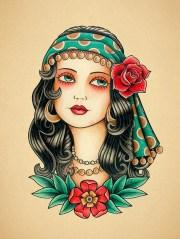 gypsy woman. school tattoo