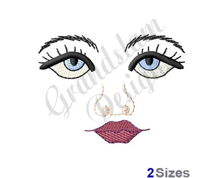 Eyes with lashes Embroidery Design. Eyes Embroidery Design.