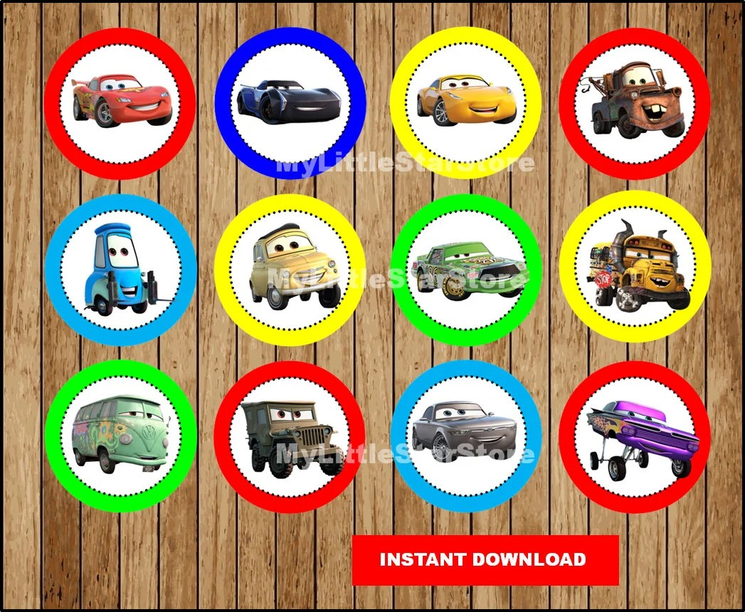 Cars Cupcakes Toppers Printable Cars Toppers Disney Cars 3
