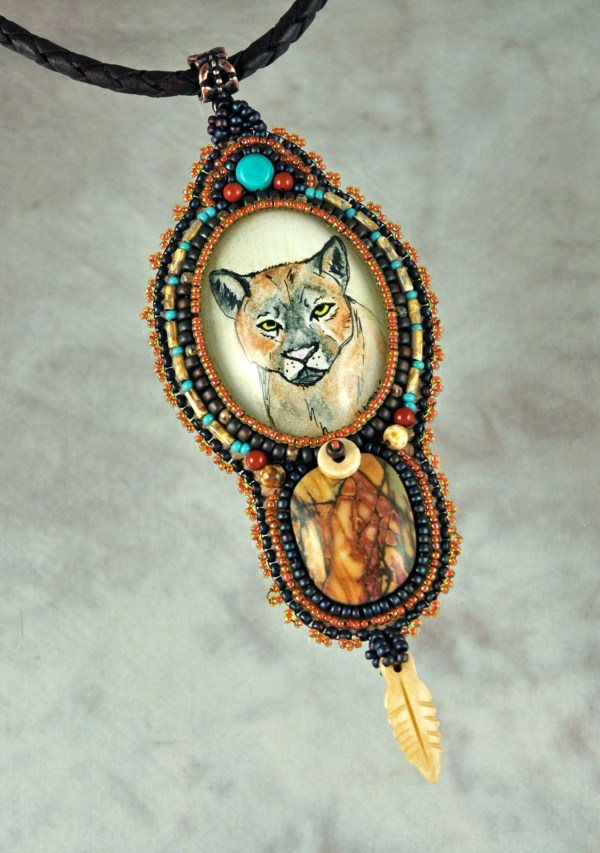 Necklace Bead Embroidered Cougar Pen And Color