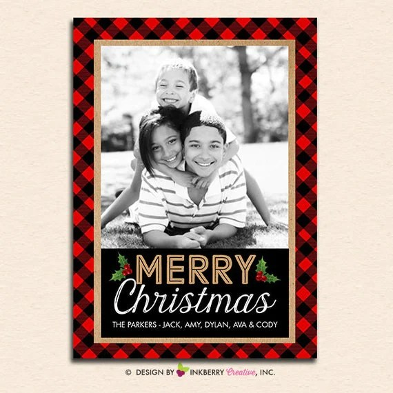 Red And Black Buffalo Check Plaid Christmas Card Digital