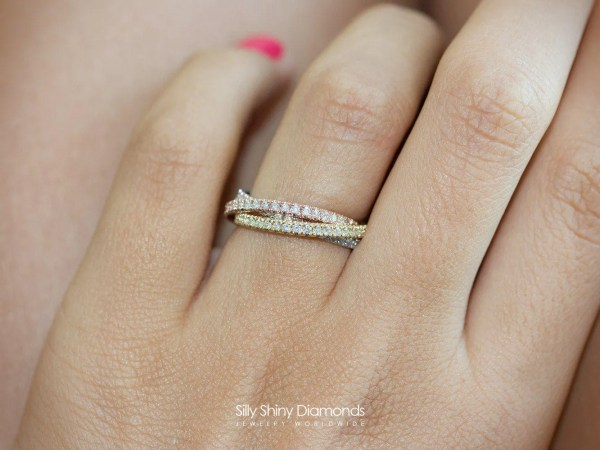 Tricolor 3 Rolling Diamond Ring Band