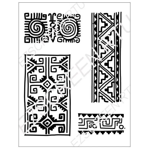 Silk Screen Printing Stencil Tribal Border Designs For