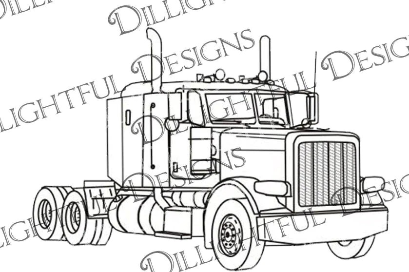 Peterbilt Like Semi Truck Big Rig 18 Wheeler Trucker Sticker