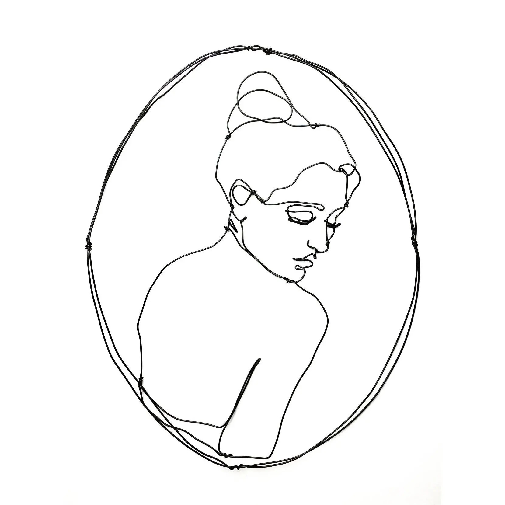 Wire Wall Art Woman Looking Back Portrait Glamour Wire