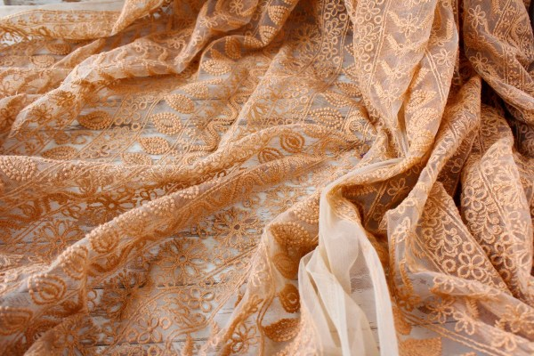 1 Yard Of Peach Net Fabric With Embroidery Boho Floral