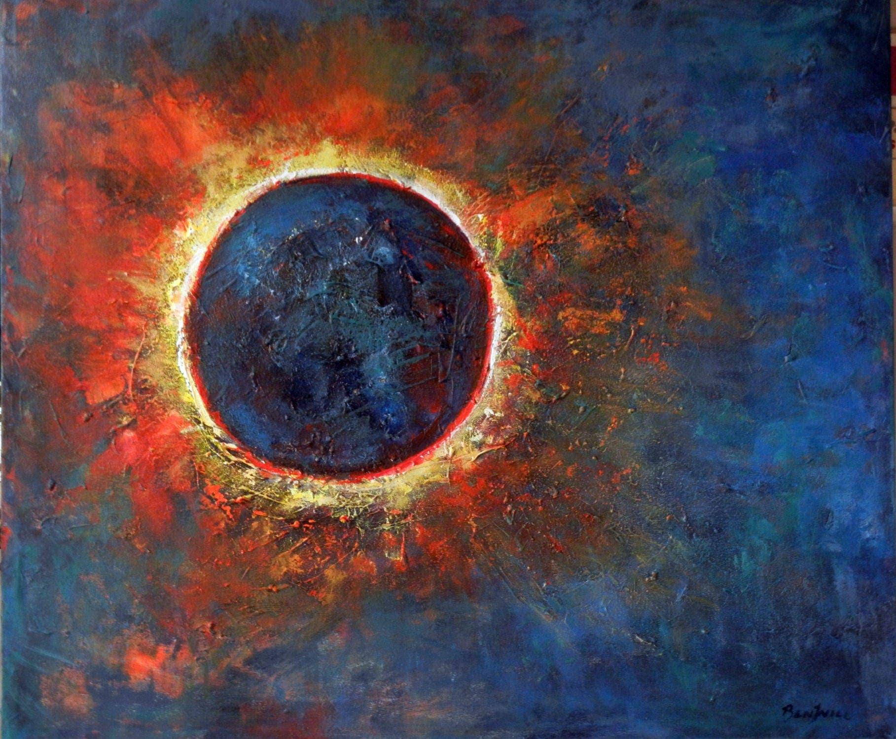Solar Eclipse Abstract Painting Original Art Sun Moon On