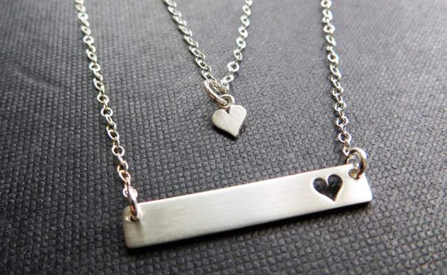 Mother Daughter Bar Necklace Gift For Mom Heart Cutout