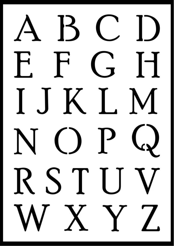 Alphabet Lettering Stencils OFFER, Uppercase, Lowercase