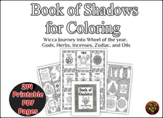 book of shadows printable coloring 214 pages wicca coloring