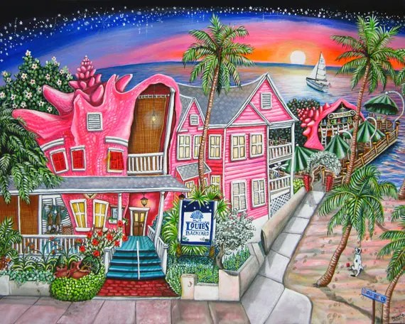 Louies Backyard Key West Florida Print
