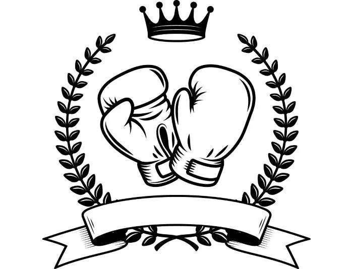 Boxing Logo #6 Boxer Gloves Ring Fight Fighting MMA Ribbon