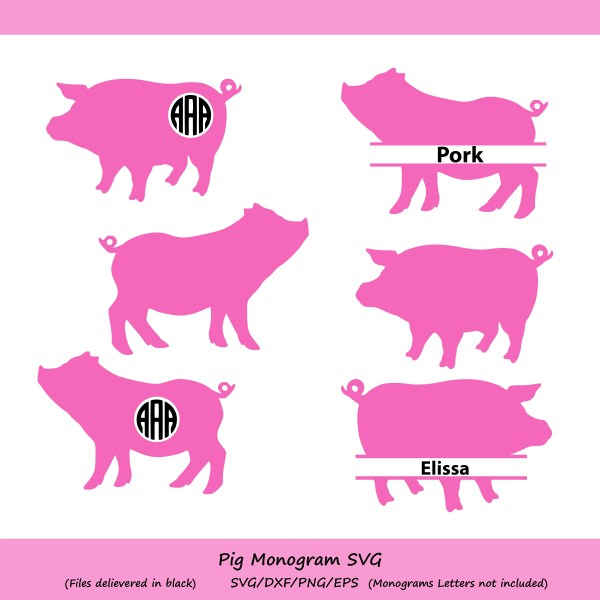 Pig Svg Cut File Monogram Silhouette Files Cricut