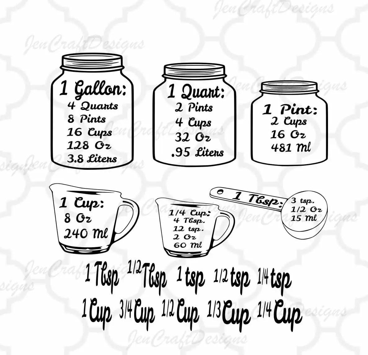 Measurements SVG Kitchen Conversion SVG, Measuring Cups