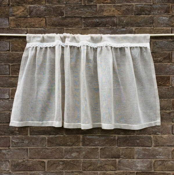 Natural Sheer Linen Lace Cafe Curtain Shabby Chic Beige