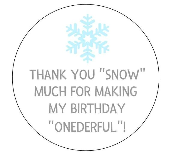 12 Thank You Blue Snowflake Stickers, Onederful Theme