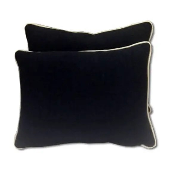 Navy blue  and White welting lumbar pillow covers