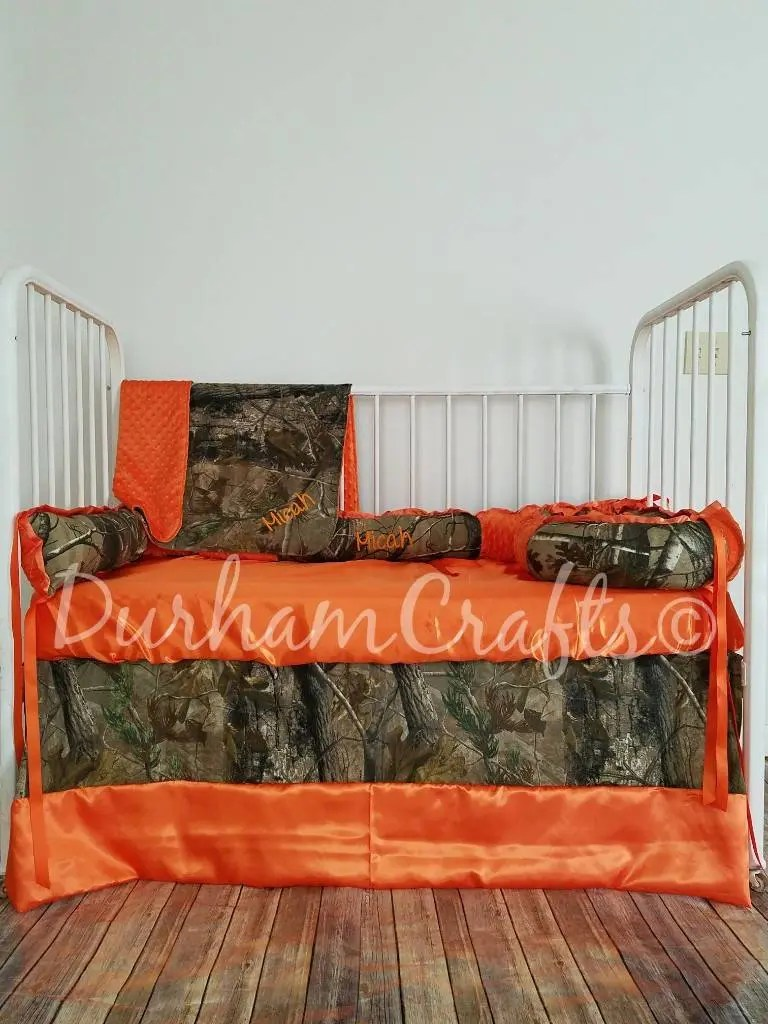 Camo and Orange Embroidered Baby Bed Set with blanket
