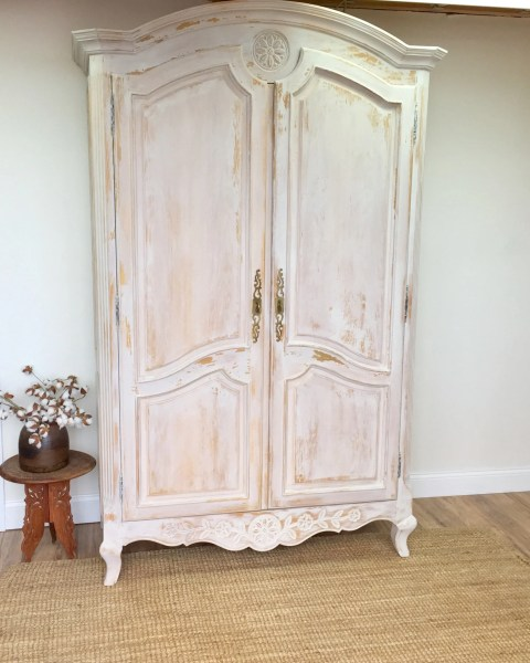 country style bedroom armoire Large Armoire - French Provincial Style - Shabby Chic Wardrobe - Armoire Closet - Country