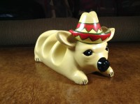 Chihuahua Clay Taco Holder with Sombrero