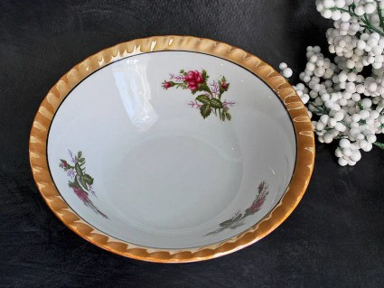 Vintage Yamatsu Lustreware Serving Bowl with Golden Rim and Rose Design: Made in Mid Century Japan