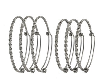 Bulk lot 50pcs Child Size Silver Tone Adjustable Wire Bangle