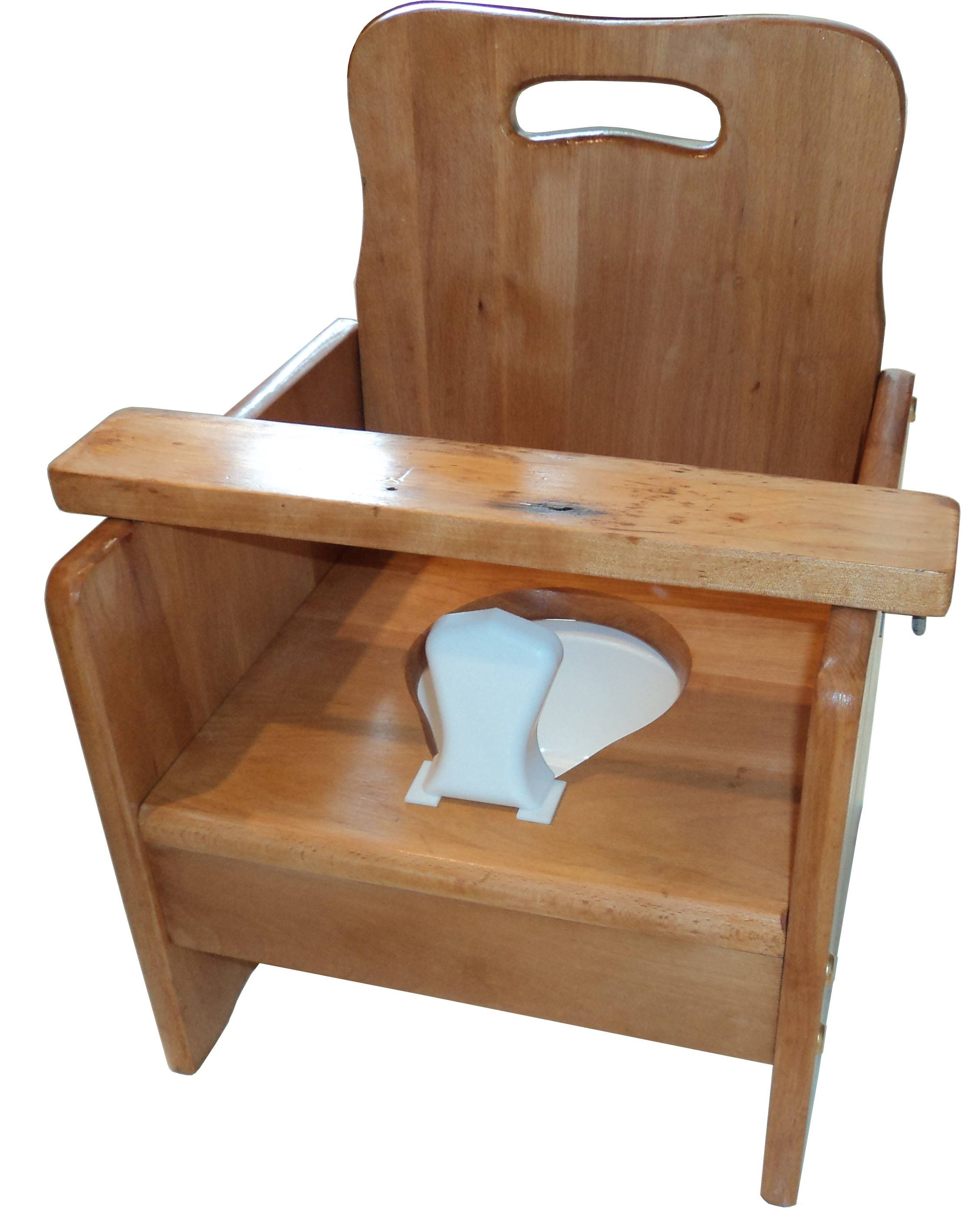 wooden potty chair swing garden with tray bar old fashioned ready for