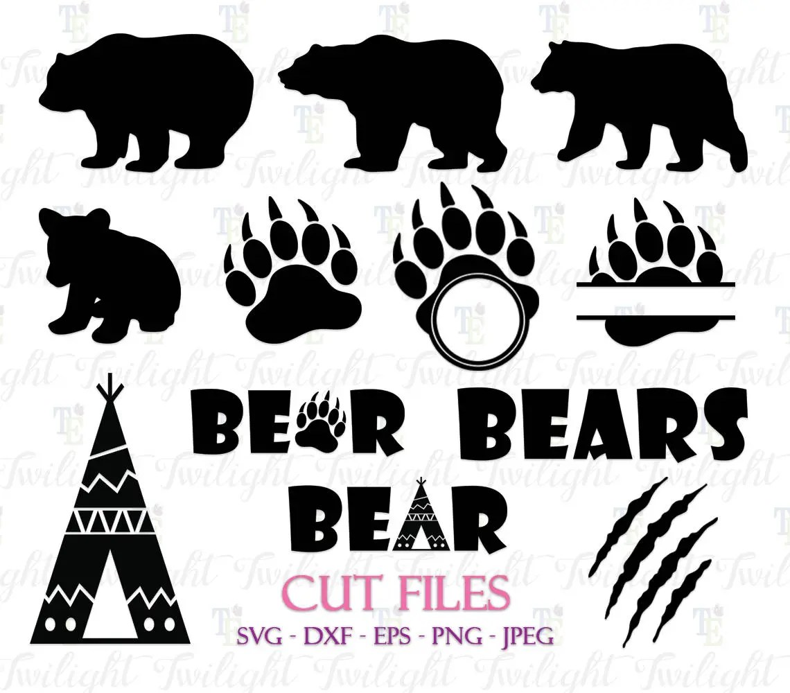 Bear Cut Files Bear Claw Cut Files Bear Paw Cut Files Bear