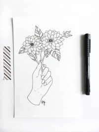 Flower line drawing | Etsy
