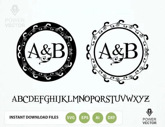 Items similar to Wreath Monogram Frame SVG cut files