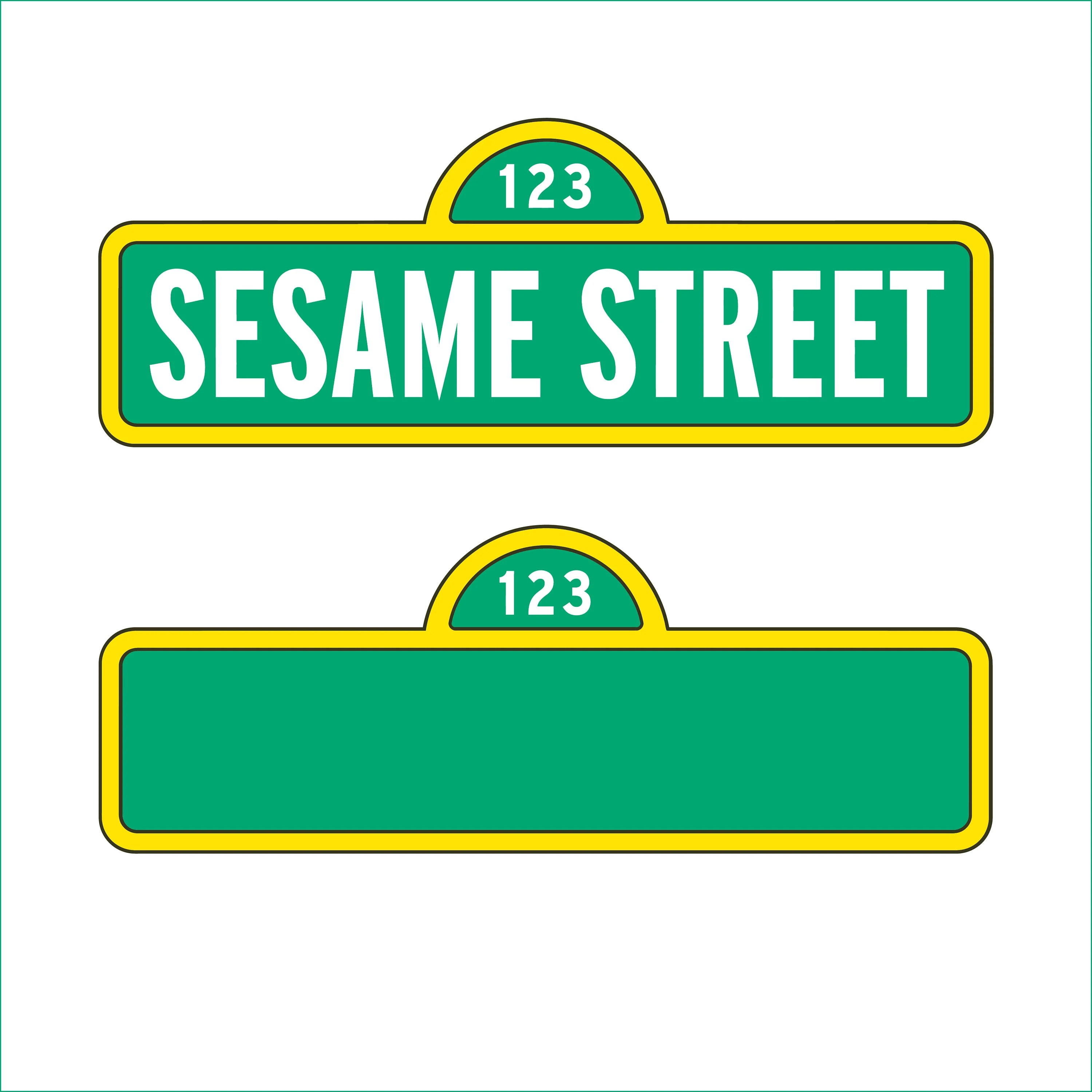 Sesame Street Sign And Blank Sign Only Svg Dxf Eps