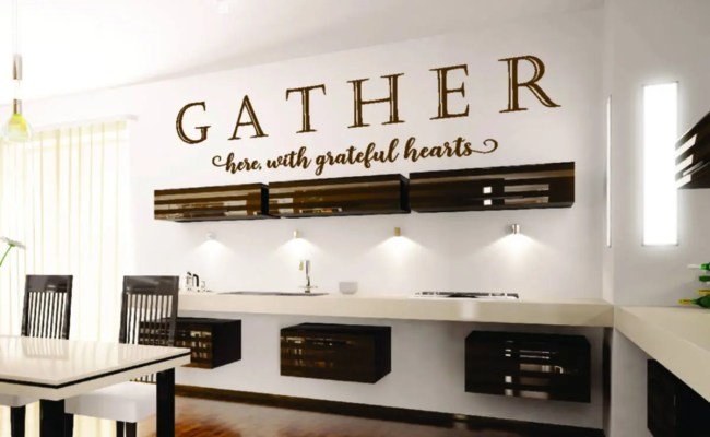 Gather Here With Grateful Hearts Vinyl Wall Decal Sticker