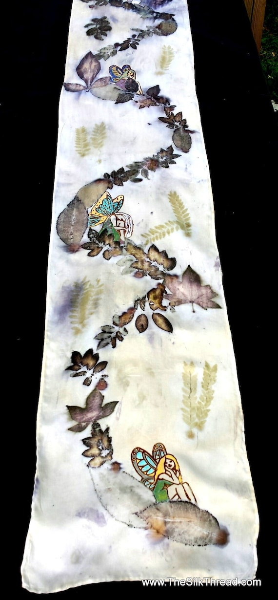 Fairies, faeries hand painted on ecoprinted silk, wall hanging, driftwood, colors from Nature, sustainable, original art by artist 11 x 60