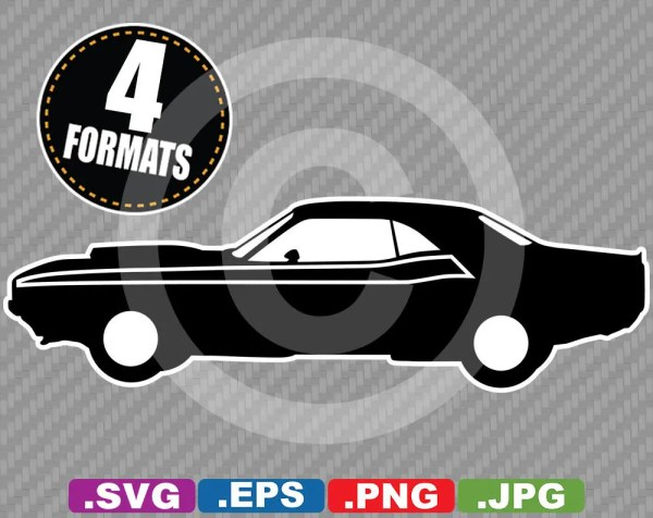 1970 Dodge Challenger TA Silhouette Clip Art Image SVG