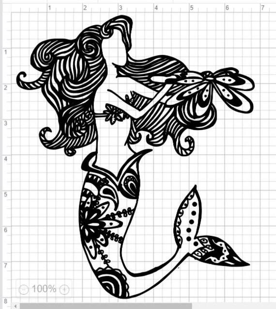 Mandala Style Mermaid SVG PDF EPS Dxf & Studio 3 Cut Files