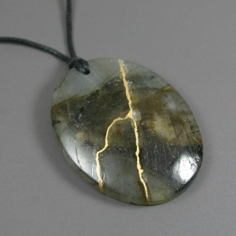 Kintsugi (kintsukuroi) labradorite stone oval pendant with gold repair on black cotton cord - OOAK