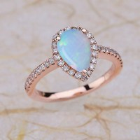 Rose Gold Engagement Ring / Opal Teardrop Engagement Ring