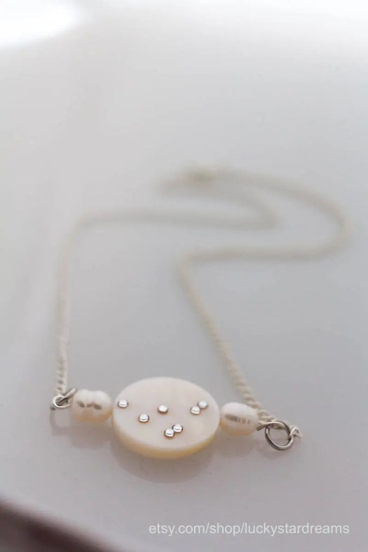 White Capricorn Necklace ...