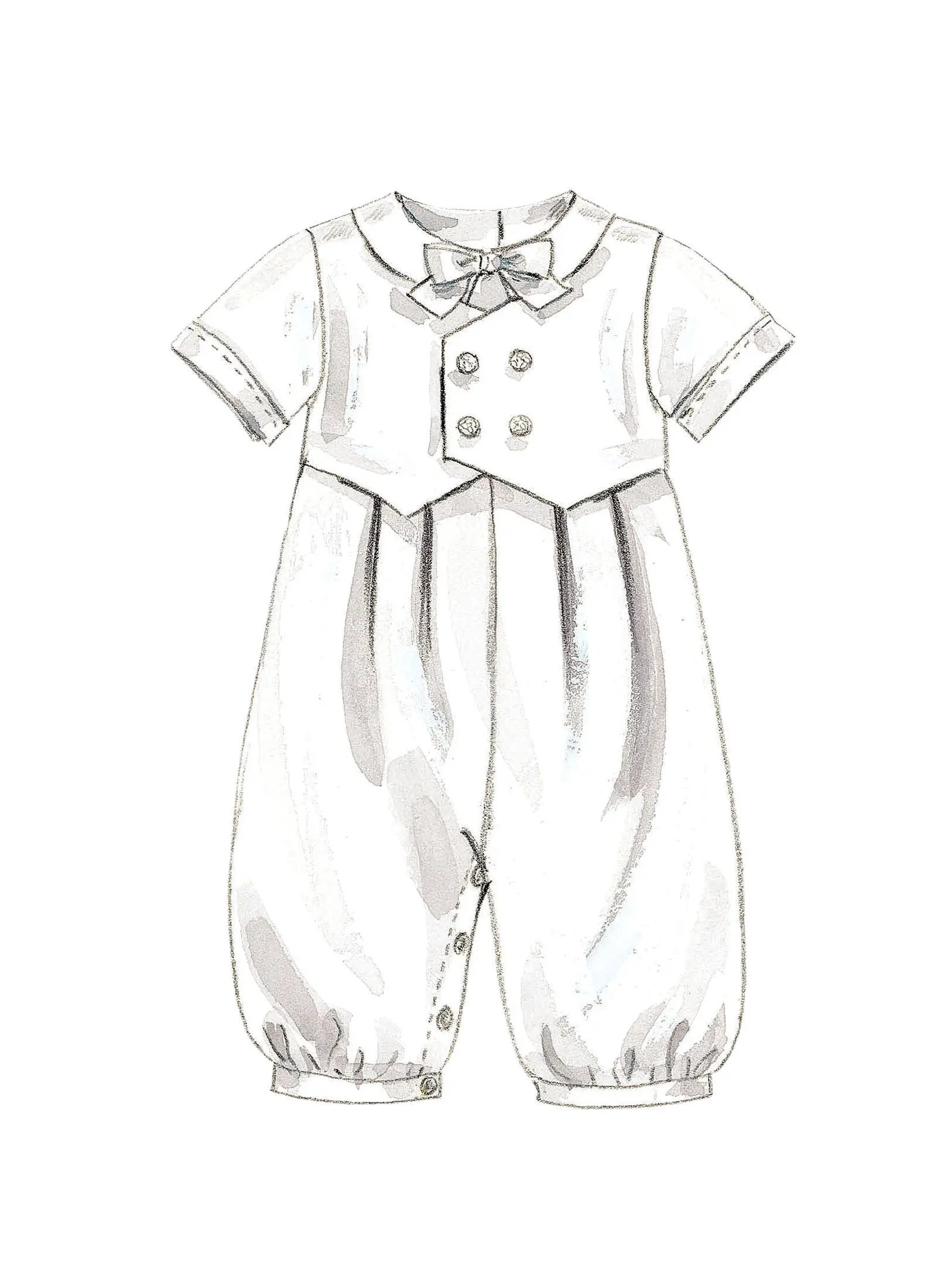 Sewing Pattern for Infants' Christening Gown, Rompers and