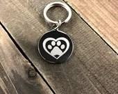 Pawprint heart tag •  P...