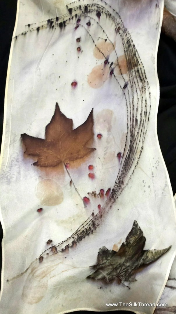 """Eco-printed Silk Scarf with Asian Design from Leaves by Artist, All Natural Colors from Nature, 8"""" x 72"""" 220C, FREE Ship USA, OOAK"""