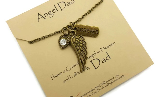 Angel Dad Memorial Necklace Memorial Gift Idea Remembrance