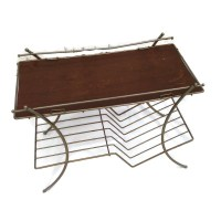 Mid Century Wire Record Rack Low Side Table Vintage Magazine