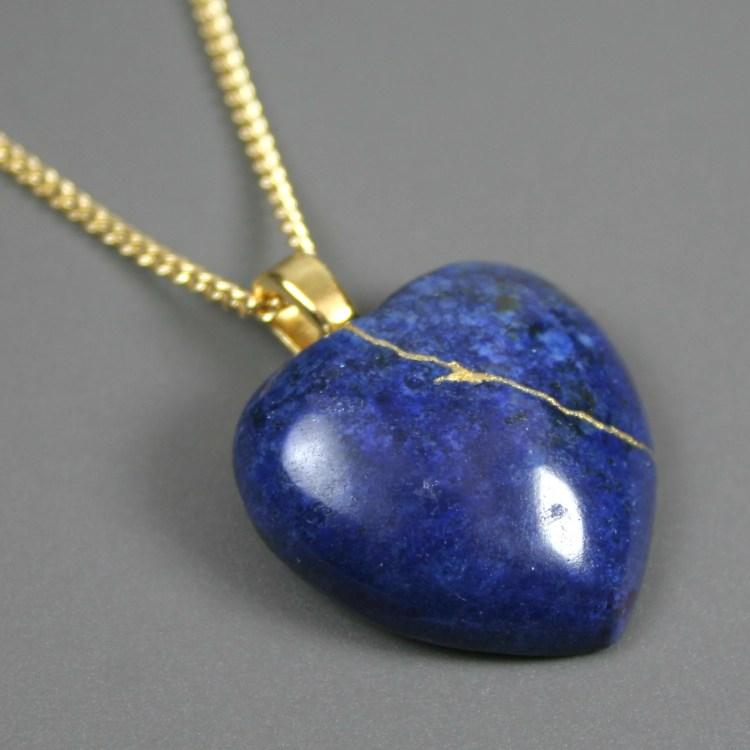 Broken heart pendant in lapis lazuli stone with gold kintsugi (kintsukuroi) repair on gold plated curb chain - OOAK