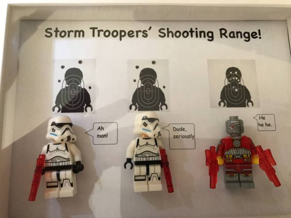 Star Wars Storm Troopers Shooting Range Deadshot Mash Joke Pun Spoof Lego Compatible